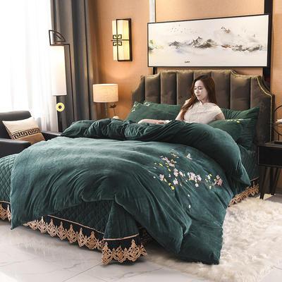 2019阁楼幽香水晶绒绣花系列单品床盖 250cmx250cm 阁楼幽香-祖母绿