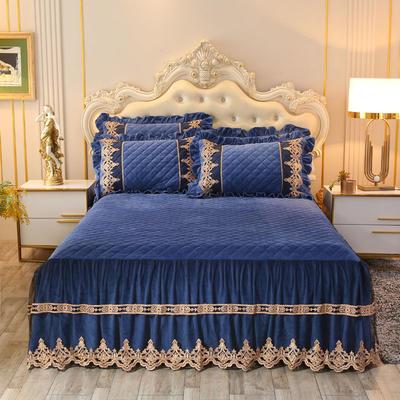 2019新款圣玛丽娜床裙系列单品床裙 150*200(+45CM) 圣玛丽娜-烟灰蓝