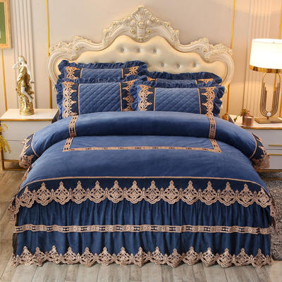 2019新款圣玛丽娜水晶绒床裙四件套 1.5m床裙款四件套 圣玛丽娜-烟灰蓝