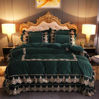 2019新款圣玛丽娜水晶绒床盖款四件套 1.8m床盖款四件套 圣玛丽娜-孔雀绿