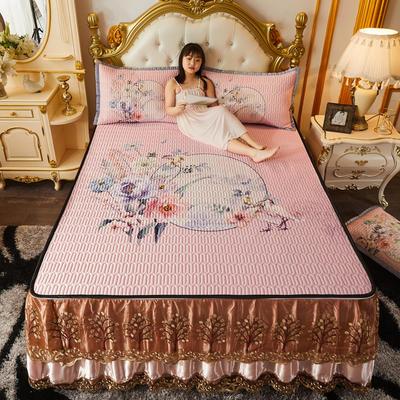 2020新款春夏凉感丝乳胶床裙款凉席 1.8*2.0m 三件套 彩蝶红妆-浅粉