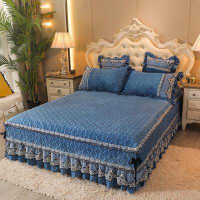 2020新款孔雀纹单床裙 180cmx200cm 宝石蓝