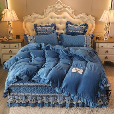 2020新款孔雀纹床裙四件套 1.8m床裙款四件套 宝石蓝