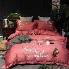 201860长绒棉刺绣 致 四件套 1.5m(5英尺)床 致 朱红