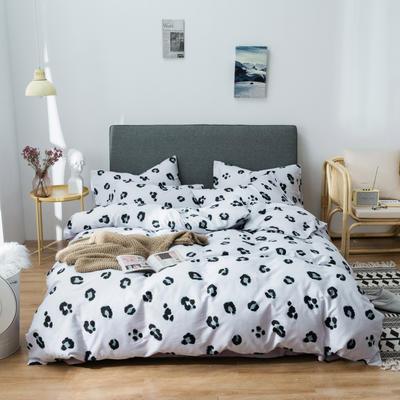 2019新款-全棉13372印花小清新简约风四件套 1.2m床 床单款 三件套 豹纹芭比-灰