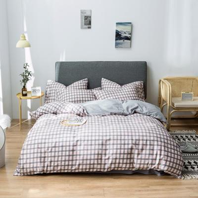 2019新款-全棉13372印花小清新简约风四件套 1.2m床 床单款 三件套 粉调