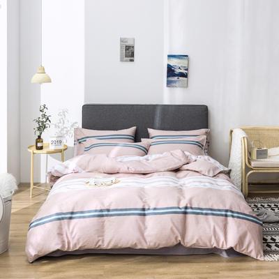 2019新款-全棉13372印花小清新简约风四件套 1.2m床 床单款 三件套 时尚秀场-粉