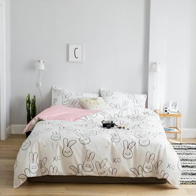2019新款13372萌系小清新四件套 1.2m床单款三件套 可爱小兔