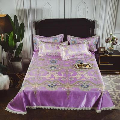 2019新款-可水洗冰丝软凉席三件套 1.5-1.8m 床 小时光紫