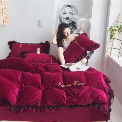 2019新款保暖宝宝绒蕾丝刺绣系列四件套 1.8m床单款四件套 魅力红