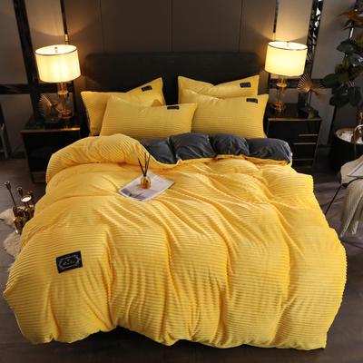 2019新款魔法绒保暖四件套 1.2m床单款三件套 柠檬黄