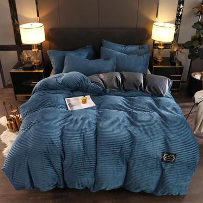 2019新款魔法绒保暖四件套 1.2m床单款三件套 深蓝