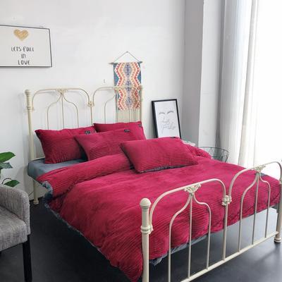 2019新款魔法绒保暖四件套(实拍) 1.2m床单款三件套 波尔多红