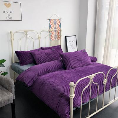 2019新款魔法绒保暖四件套(实拍) 1.2m床单款三件套 魅力紫