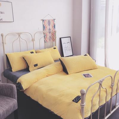2019新款魔法绒保暖四件套(实拍) 1.2m床单款三件套 柠檬黄