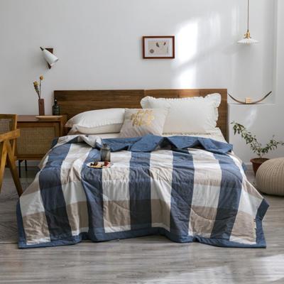 2020新款全棉色织棉花夏被 150x200cm单夏被 蓝大格