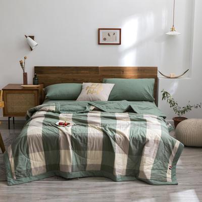 2020新款全棉色织棉花夏被 150x200cm单夏被 绿大格