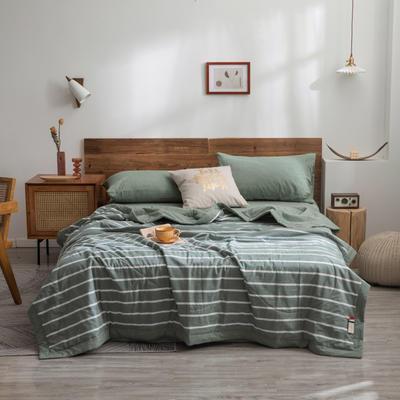 2020新款全棉色织棉花夏被 150x200cm单夏被 绿条纹