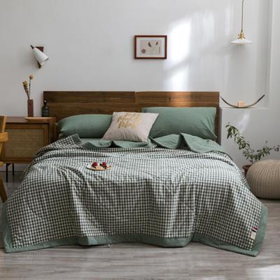 2020新款全棉色织棉花夏被 150x200cm单夏被 绿小格