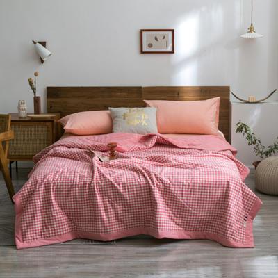 2020新款全棉色织棉花夏被 150x200cm单夏被 中粉小格