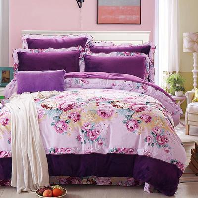 2017韩版法莱绒四件套 标准(1.5m-1.8m床) 紫色情怀