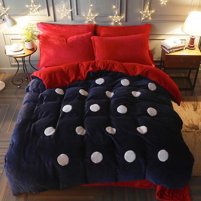 2017立体贴布绣法莱绒四件套 标准(1.5m-1.8m床) 波点-宝蓝红