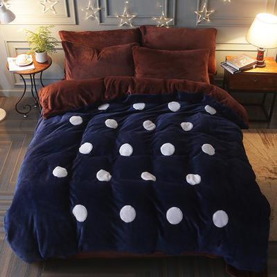 2017立体贴布绣法莱绒四件套 标准(1.5m-1.8m床) 波点-宝蓝咖