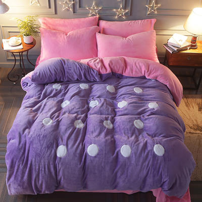 2017立体贴布绣法莱绒四件套 标准(1.5m-1.8m床) 波点-紫粉