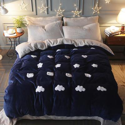 2017立体贴布绣法莱绒四件套 标准(1.5m-1.8m床) 清新-宝蓝灰