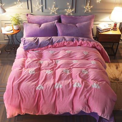 2017立体贴布绣法莱绒四件套 标准(1.5m-1.8m床) 清新-粉紫