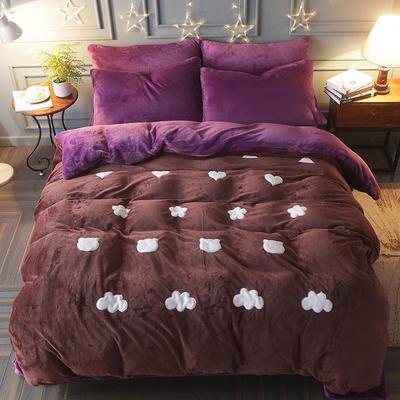 2017立体贴布绣法莱绒四件套 标准(1.5m-1.8m床) 清新-金咖紫