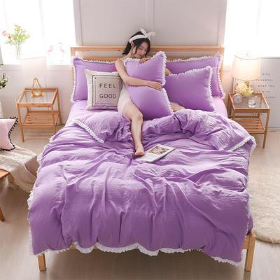 2018新款水洗棉韩版四件套 1.5m(5英尺)床 炫紫
