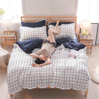 2018新款水洗棉韩版四件套 1.5m(5英尺)床 自然风