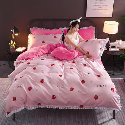 2018新款-叠宝A面针织棉B面法莱绒系列三/四件套 1.8m(6英尺)床 草莓派对