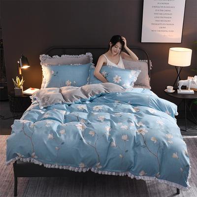 2018新款-叠宝A面针织棉B面法莱绒系列三/四件套 1.8m(6英尺)床 春暖花开
