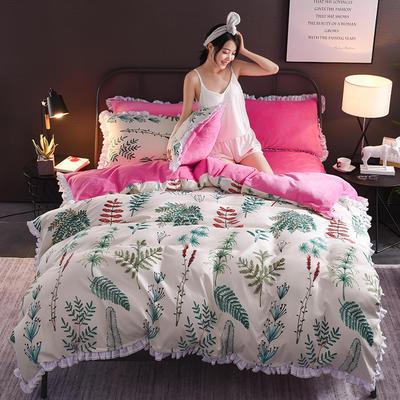 2018新款-叠宝A面针织棉B面法莱绒系列三/四件套 1.8m(6英尺)床 春意盎然