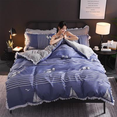 2018新款-叠宝A面针织棉B面法莱绒系列三/四件套 1.8m(6英尺)床 风帆