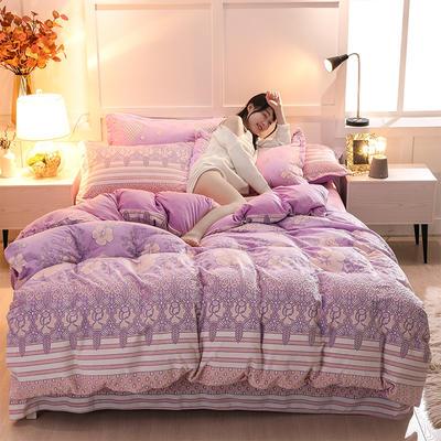 2019新款6D雕花绒四件套 1.8m床四件套(床单款) 兰花情紫