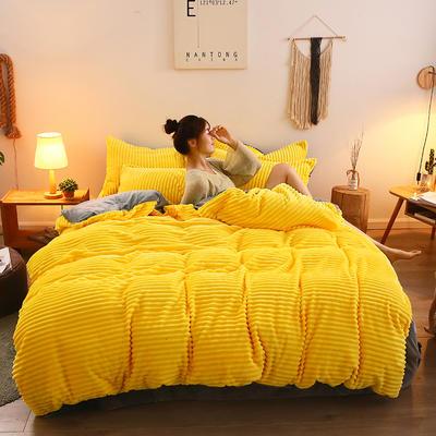 2019新款魔法绒水晶系列四件套 1.8m床四件套(床单款) 柠檬黄
