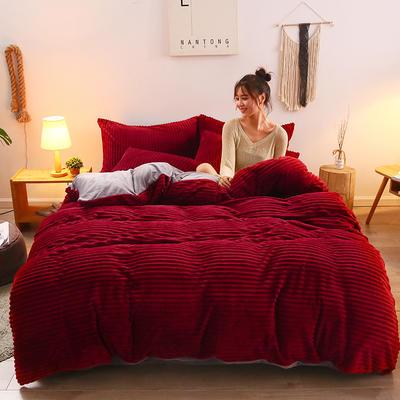 2019新款魔法绒水晶系列四件套 1.8m床四件套(床单款) 绽放红