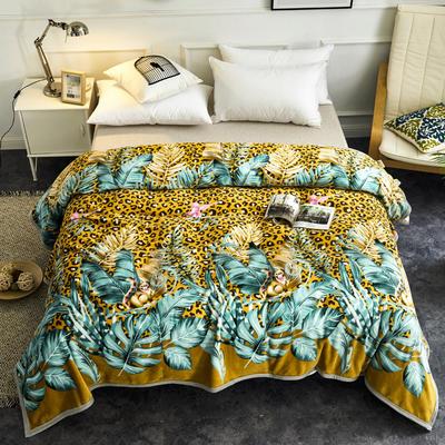 2020云貂绒毛毯法兰绒毛毯珊瑚绒毛毯午睡毯法莱绒床单盖毯 120*200cm 豹点小浣熊