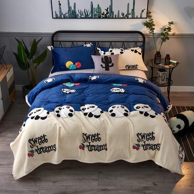 2020云貂绒毛毯法兰绒毛毯珊瑚绒毛毯午睡毯法莱绒床单盖毯 120*200cm 大熊猫