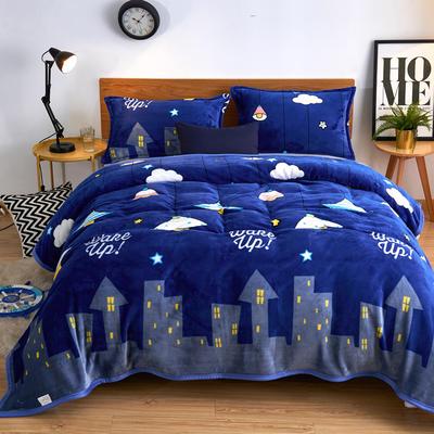 2020云貂绒毛毯法兰绒毛毯珊瑚绒毛毯午睡毯法莱绒床单盖毯 120*200cm 都市星空