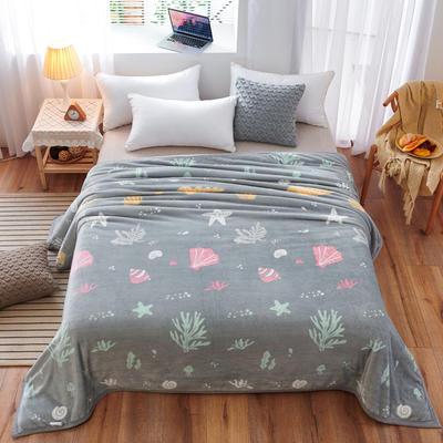 2020云貂绒毛毯法兰绒毛毯珊瑚绒毛毯午睡毯法莱绒床单盖毯 120*200cm 海底世界-灰