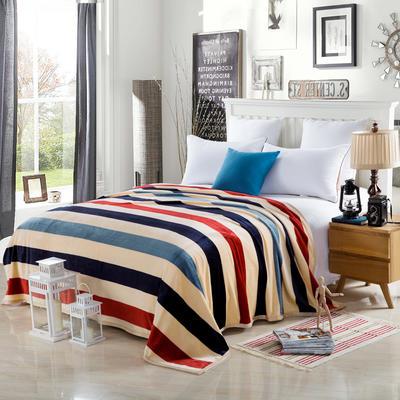 2020云貂绒毛毯法兰绒毛毯珊瑚绒毛毯午睡毯法莱绒床单盖毯 120*200cm 简约条纹