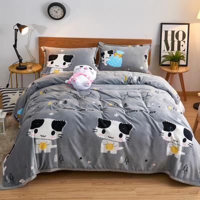 2020云貂绒毛毯法兰绒毛毯珊瑚绒毛毯午睡毯法莱绒床单盖毯 120*200cm 可爱猫咪