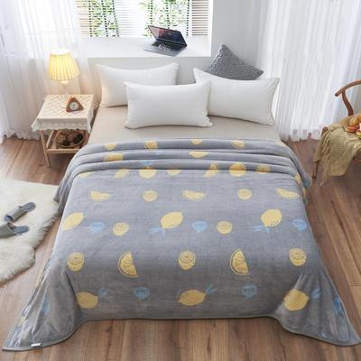 2020云貂绒毛毯法兰绒毛毯珊瑚绒毛毯午睡毯法莱绒床单盖毯 120*200cm 柠檬