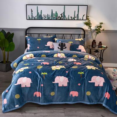 2020云貂绒毛毯法兰绒毛毯珊瑚绒毛毯午睡毯法莱绒床单盖毯 120*200cm 小象