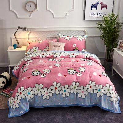 2020云貂绒毛毯法兰绒毛毯珊瑚绒毛毯午睡毯法莱绒床单盖毯 120*200cm 熊猫乐园