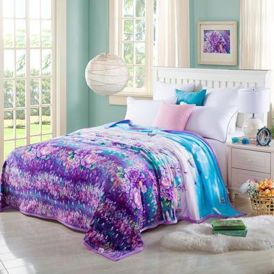 2020云貂绒毛毯法兰绒毛毯珊瑚绒毛毯午睡毯法莱绒床单盖毯 120*200cm 薰衣草